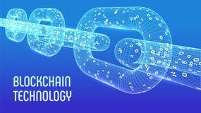 Cadena de bloque Moneda Crypto Concepto de Blockchain cadena del wireframe 3D con código digital Plantilla Editable de Cryptocurr Imagen de archivo libre de regalías