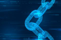 Cadena de bloque Moneda Crypto Concepto de Blockchain cadena del wireframe 3D con código digital Plantilla Editable de Cryptocurr stock de ilustración