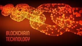 Cadena de bloque Moneda Crypto Concepto de Blockchain cadena del wireframe 3D con los bloques digitales Cryptocurrency Editable ilustración del vector