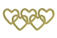 Cadena de los corazones del oro Fotos de archivo libres de regalías