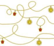Cadena de oro con el sol de oro, diseño inconsútil de la moda del modelo del color de rubíes del diamante, fondo del ejemplo d libre illustration