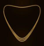 Cadena de oro hermosa de la forma del corazón Foto de archivo libre de regalías