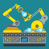 Cadena de producción robótica Concepto del vector de la máquina de la fabricación stock de ilustración