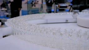 Cadena de producci?n farmac?utica - banda transportadora con las botellas de cristal vac?as metrajes