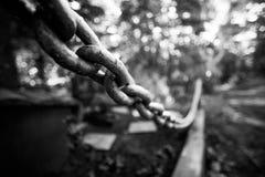 Cadena en el fondo del cementerio, foto blanco y negro, foco suave Fotografía de archivo