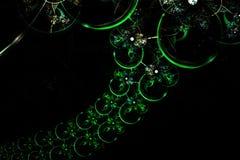 Cadena esférica verde de la diversión del fractal que brilla intensamente abstracto Fotos de archivo