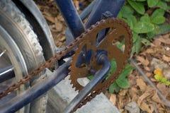 Cadena oxidada de la bici del tratamiento activo fotografía de archivo libre de regalías