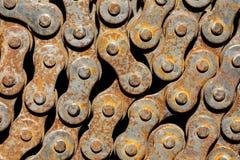Cadena oxidada de la bicicleta Imagen de archivo