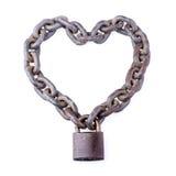 Cadena y candado en forma del corazón Fotografía de archivo
