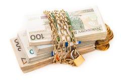 Cadena y cerradura del dinero aisladas en blanco Imagen de archivo