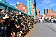 Cadenas au pont de Tumski, Wroclaw Photos libres de droits