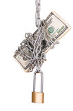 Cadenas avec des dollars Image libre de droits