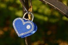 Cadenas bleu sous forme de coeur sur des barres de fer Photo libre de droits