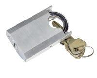 Cadenas débloqué et clé Photos stock