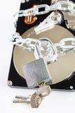 Cadenas débloqué et lecteur de disque dur enchaîné Image stock