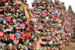 Cadenas d'amour à la tour de N Séoul Photo stock