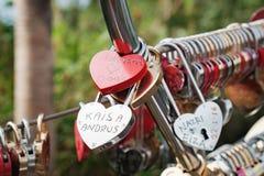 Cadenas d'amour à Langkawi SkyCab, Malaisie Images stock