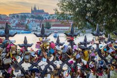 Cadenas d'amour à Prague Images libres de droits