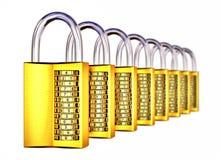 Cadenas d'or complexes dans la rangée avec le DOF Image stock
