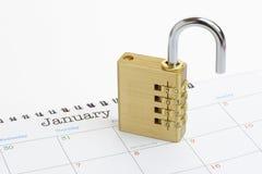 Cadenas de nouvelle année sur un calendrier 2016 générique Photo libre de droits