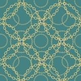 Cadenas de oro en modelo inconsútil del fondo azul EPS 10 ilustración del vector