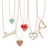 Cadenas del corazón de la joyería Imagen de archivo libre de regalías