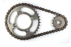 Cadenas del rodillo con los piñones para las motocicletas Imagenes de archivo