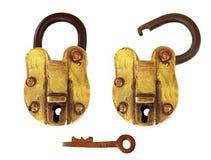 Cadenas en laiton de cru, ouvert et fermé images libres de droits