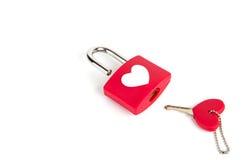 Cadenas et clé de coeur Photographie stock libre de droits