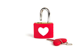 Cadenas et clé de coeur Photo stock