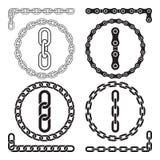 Cadenas Ilustración del vector Iconos de cadena, piezas, círculos de cadenas Fotos de archivo libres de regalías