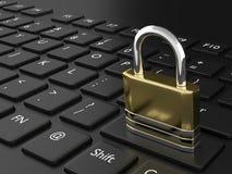 cadenas rendu par 3d sur le clavier noir Image stock
