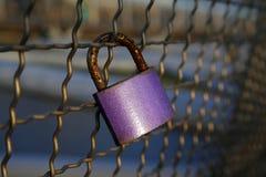 Cadenas rose d'amour enchaîné au pont Images stock