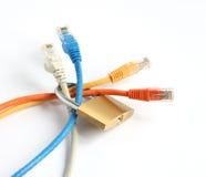 Cadenas verrouillé avec quatre câbles de réseau informatique Photographie stock