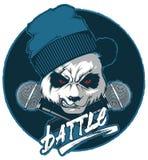 Cadera-tolva enojada de la panda y dos micrófonos cruzados stock de ilustración