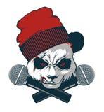 Cadera-tolva enojada de la panda y dos micrófonos cruzados libre illustration