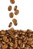 Cadere dei chicchi di caffè Fotografie Stock