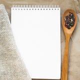 Caderno às receitas foto de stock