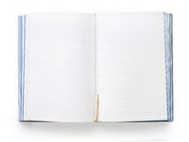 Caderno aberto da placa com folhas e o marcador esquadrados Imagem de Stock Royalty Free