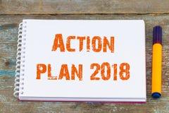 Caderno aberto do plano de ação 2018/com plano de ação da inscrição, b Imagens de Stock