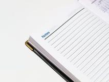 Caderno aberto na página das NOTAS Fotografia de Stock Royalty Free