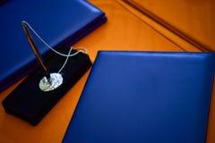 Caderno azul fotos de stock