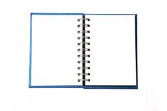 Caderno azul isolado no branco Fotografia de Stock Royalty Free