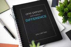 Caderno com citações inspiradores Imagem de Stock