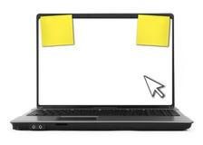 Caderno com cursor e notas amarelas Fotografia de Stock Royalty Free
