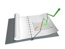 Caderno com gráfico Foto de Stock Royalty Free