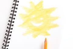 Caderno com lápis amarelo Imagem de Stock Royalty Free