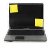 Caderno com notas amarelas Foto de Stock Royalty Free