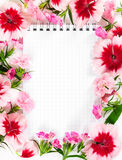 Caderno com o cravo das flores no fundo branco Concep do amor Imagem de Stock