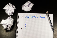 Caderno com objetivos do ano 2017 Imagem de Stock